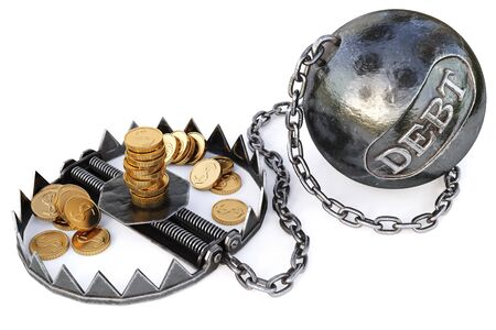 captivity: trap with gold coins. isolated on a white background. 3D illustration.