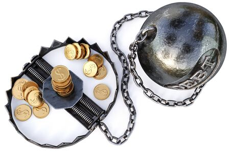 slave: trap with gold coins. isolated on a white background. 3D illustration.