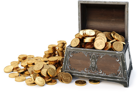 gilt: old wooden chest with gold coins. isolated on a white background. 3D illustration.