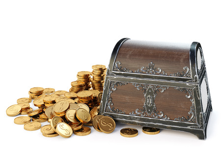 brown box: old wooden chest with gold coins. isolated on a white background. 3D illustration.