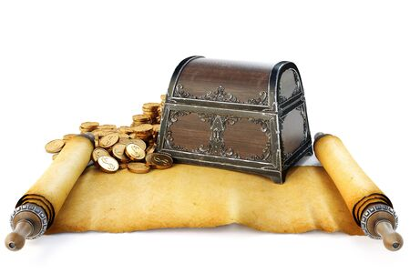 ancient map: Pirate treasure chest with ancient map. Isolated on white background. 3D illustration.