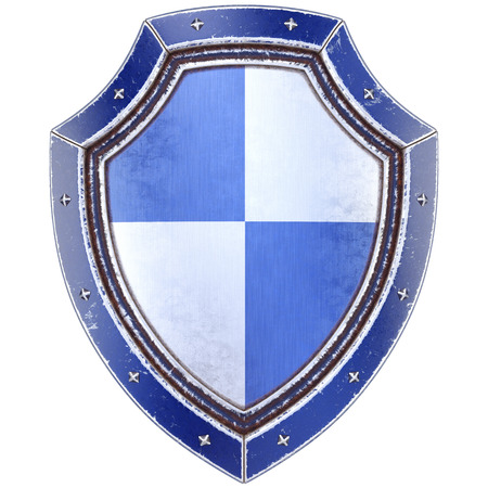 iron defense: Protection shield. Isolated on white background. 3D illustration.