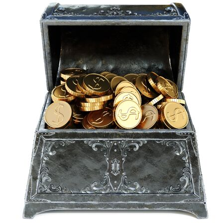 booty: old metal chest with gold coins. isolated on a white background. 3D illustration.