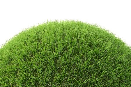 Green grass hill. Isolated on white. 3D illustration. Stock Photo