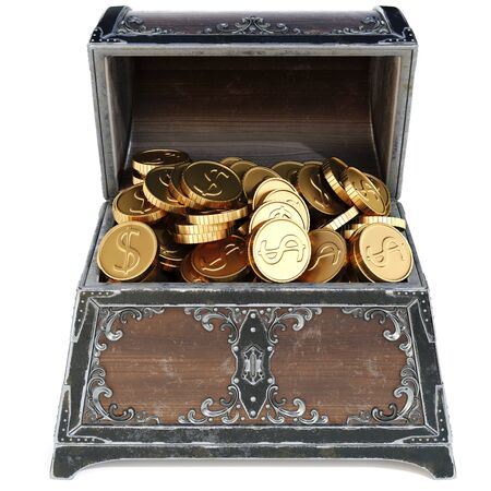 abundance: old wooden chest with gold coins. isolated on a white background. 3D illustration.