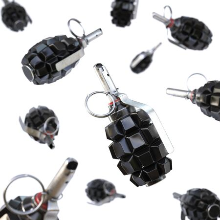 weapon: Keyboard grenade concept. Isolated on white background. 3D illustration. Stock Photo