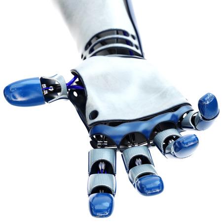 inteligencia: Robot ofrece una mano de ayuda. aislado sobre fondo blanco. Ilustración 3D. Foto de archivo