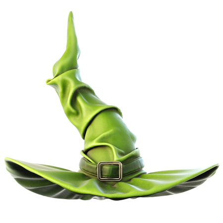 3d witch: witch hat isolated on white background. 3D illustration. Stock Photo