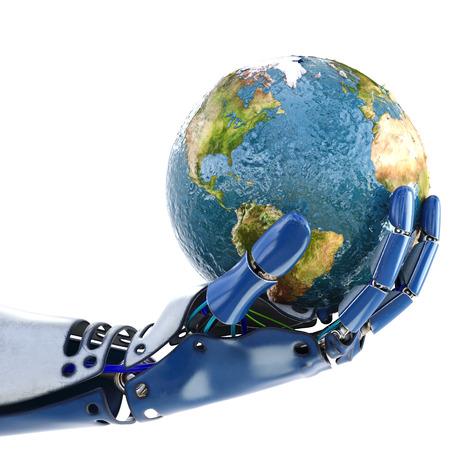 La mano de robot que sostiene la tierra. aislado sobre fondo blanco. Ilustración 3D. Foto de archivo