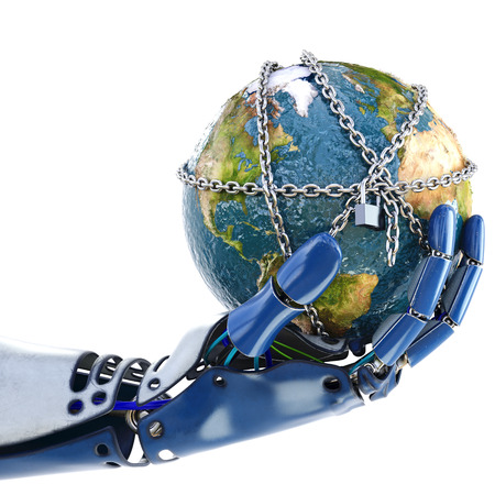 mundo manos: La mano de robot que sostiene la tierra en las cadenas. aislado sobre fondo blanco. Ilustración 3D.
