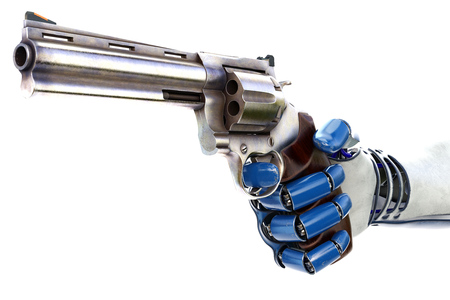 hand holding: Hand of robot holding a gun. isolated on white background. 3D illustration.