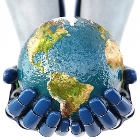 global innovation: Hand of robot holding the Earth. isolated on white background.  3D illustration.