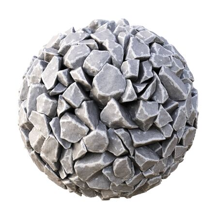 white stones: sphere made of stones. isolated on white background. 3D illustration. Stock Photo