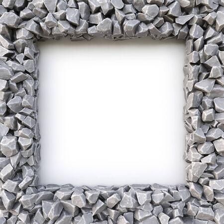 white stones: frame made of stones. isolated on white background. 3D illustration. Stock Photo