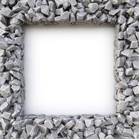 frame made of stones. isolated on white background. 3D illustration. Stock Photo