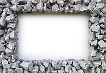 gravel: frame made of stones. isolated on white background. 3D illustration. Stock Photo