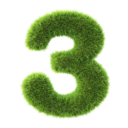 green grass: number made from green grass. isolated on white. 3D illustration. Stock Photo