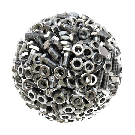nut bolt: sphere made from nuts and bolts. isolated on white background. 3D illustration. Stock Photo