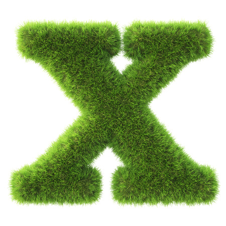 green grass: Alphabet made from green grass. isolated on white. 3D illustration. Stock Photo