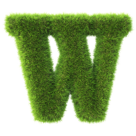 grass isolated: Alphabet made from green grass. isolated on white. 3D illustration. Stock Photo