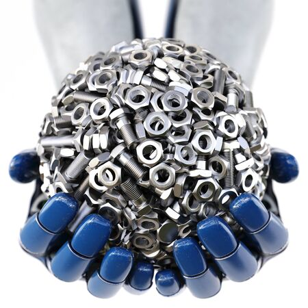 La mano de robot mantiene una esfera hecha de tuercas y tornillos. aislado sobre fondo blanco. Ilustración 3D. Foto de archivo