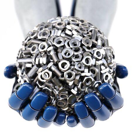 ロボットの手は、ナットとボルトから作られた球を保持します。白い背景上に分離。3 D イラスト。