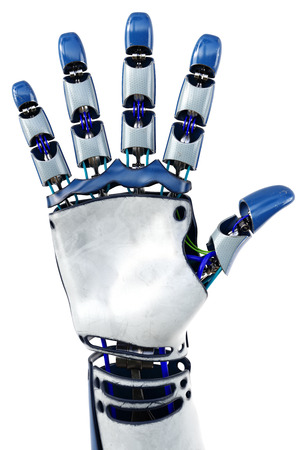 bionic: Hand of robot showing numbers. Isolated on white background. 3D illustration.