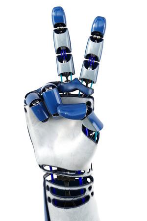 로봇 보여주는 숫자의 손입니다. 흰색 배경에 고립. 3D 그림. 스톡 콘텐츠