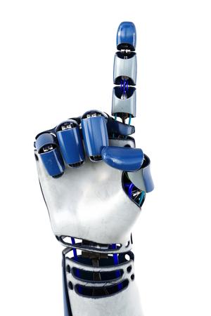 Main de numéros robot montrant. Isolé sur fond blanc. illustration 3D.