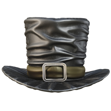 tophat: Black top hat. isolated on white background. 3D illustration.
