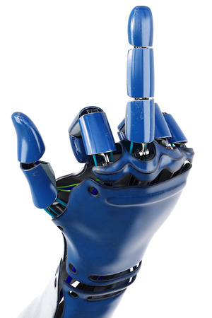 Hand of robot showing fuck you gesture. Isolated on white background. 3D illustration. Archivio Fotografico