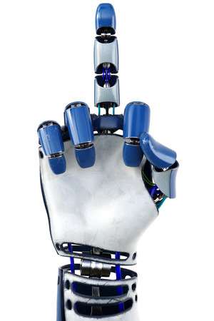 fuck: Hand of robot showing fuck you gesture. Isolated on white background. 3D illustration. Stock Photo