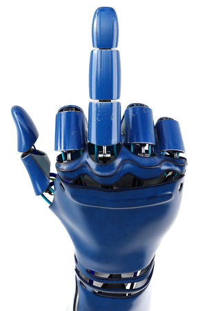 Hand of robot showing middle finger gesture. Isolated on white background. 3D illustration. Archivio Fotografico