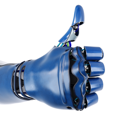 Robot arm with thumb up. Isolated on white background. 3D illustration. Standard-Bild