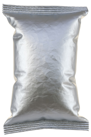 pouch: aluminum foil package. Isolated on white background. 3D illustration.