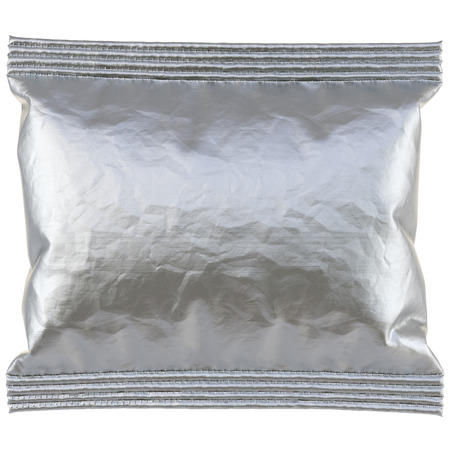 aluminum background: aluminum foil package. Isolated on white background. 3D illustration.