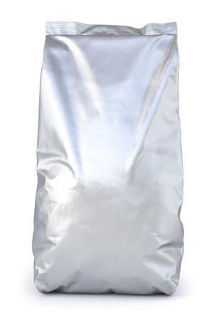 aluminum: aluminum foil package. Isolated on white background. 3D illustration.