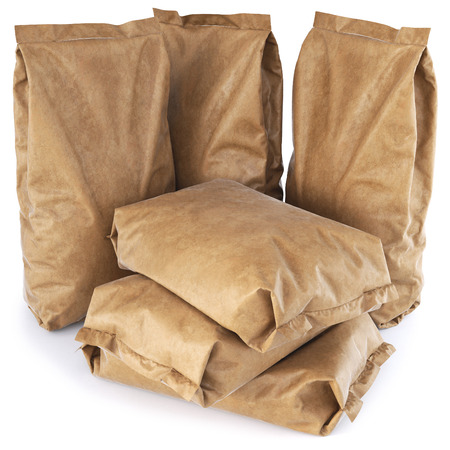 paper bag: Brown paper bags. isolated on white background. 3D illustration.