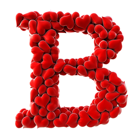 love hearts: Alphabet made from red hearts. isolated on white. 3D illustration.