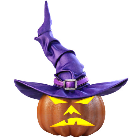 buckles: Halloween pumpkin and the witch hat. Isolated on white background. 3D illustration.