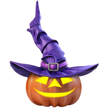 calabaza de Halloween y el sombrero de la bruja. Aislado en el fondo blanco. Ilustración 3D. Foto de archivo
