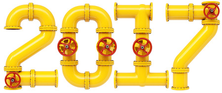 industry design: new 2017 year from gas pipes. Isolated on white background. 3D illustration. Stock Photo