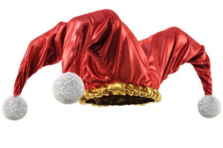 tonto: sombrero de bufón aisladas sobre fondo blanco. Ilustración 3D. Foto de archivo