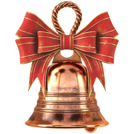 red bow: Christmas brass bell with a red bow. isolated on white. 3D illustration