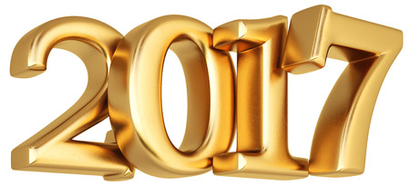 new 2017 year from gold. isolated on white. 3D illustration.