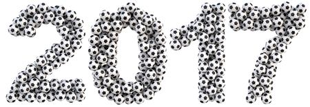 numeration: new 2017 year from the soccer balls. isolated on white. 3D illustration Stock Photo