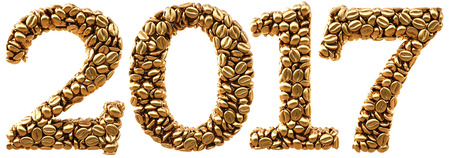 new 2017 year from gold coffee beans. isolated on white. 3D illustration Stock Photo