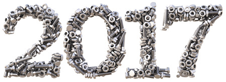 nut: new 2017 year from the nuts and bolts. isolated on white. 3D illustration