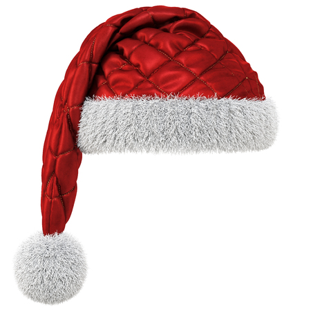 Santa Claus red hat isolated on white background. 3D illustration. Stock Photo