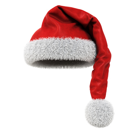 winter hat: Santa Claus red hat isolated on white background. 3D illustration. Stock Photo